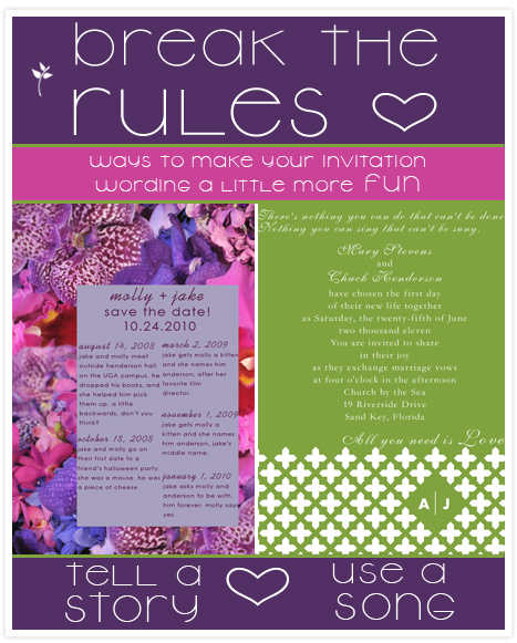 The Rules Of Wedding Invitation Wording Break Or Follow