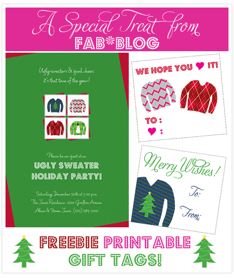 Ugly Sweater Holiday Party FREE Printable Gift Tags Invitation - Ugly sweater christmas party invitations template