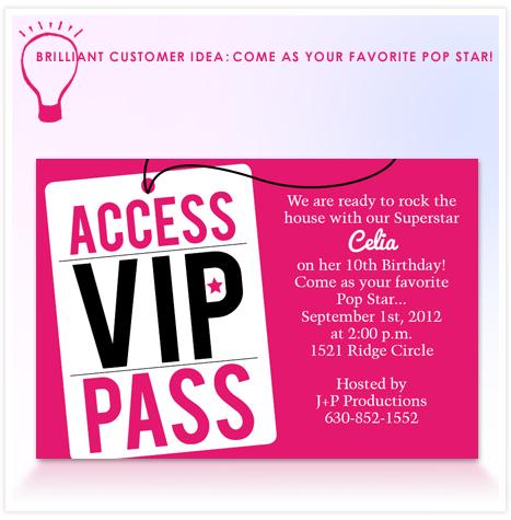 BRILLIANT CUSTOMER IDEA POP STAR PARTY Invitation Consultants