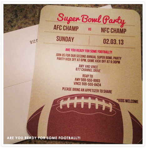 Food Feature Super Bowl Party Food Invitation Consultants – Super Bowl Party Invite