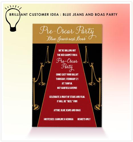 Brilliant Customer Idea Blue Jeans and Boas Oscar Party