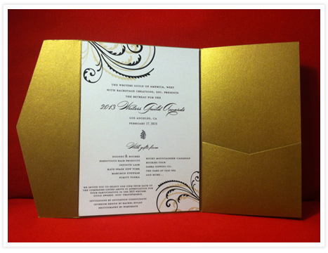 And the winner is invitation consultants blog wedding and 2013 writers guild awards backstage creations invitation stopboris Image collections