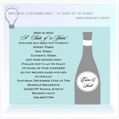 Brilliant Customer Idea A Taste of 10 Years Anniversary Party