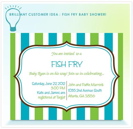 Brilliant Customer Idea Host A Fish Fry Baby Shower Invitation