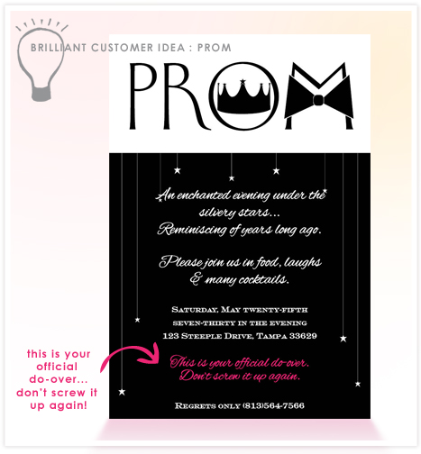 Brilliant customer idea prom do over invitation consultants brilliant customer idea prom do over invitation consultants blog wedding and party inspiration stopboris Image collections