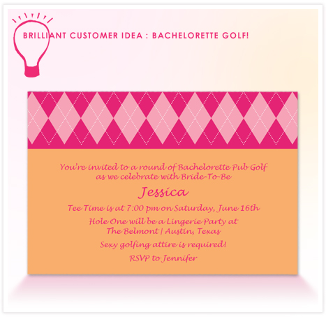 Customer idea - bachelorette golf