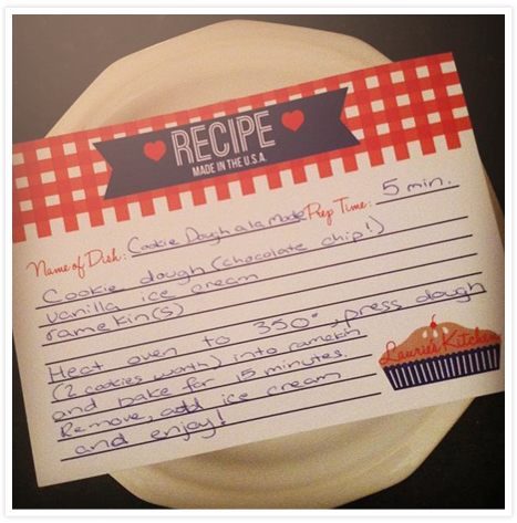 Cookie dough - recipe card