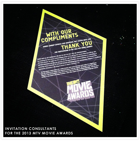 Invitation Consultants for the 2013 MTV Movie Awards