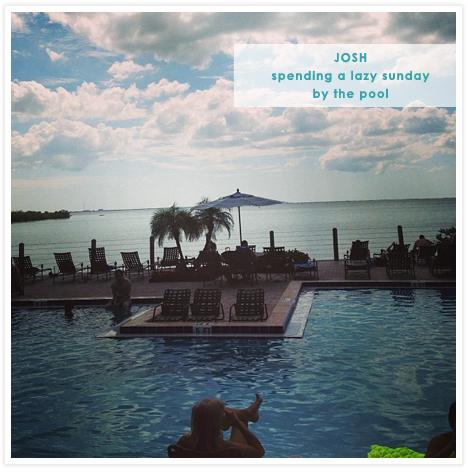Josh's Instagram - lazy Sunday by the pool