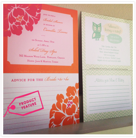 ProductFeature_Tearaway Advice Invitations for Moms and Brides