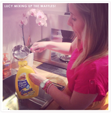 Lucy mixing the batter on Waffle Day!