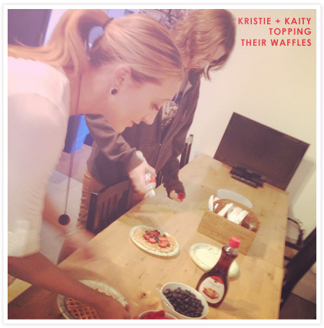 Kristie and Kaity making waffles to celebrate Waffle Day!